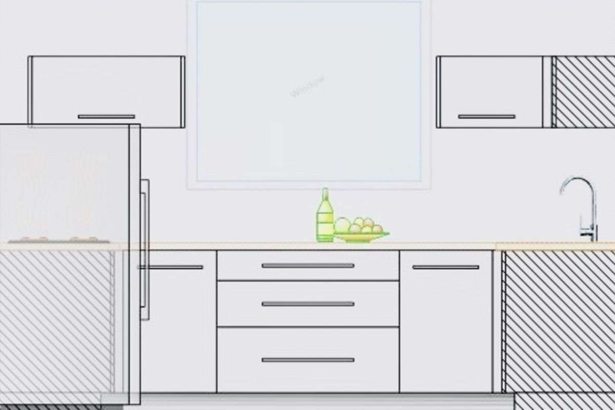 Kitchen design for studio apartment downstairs.